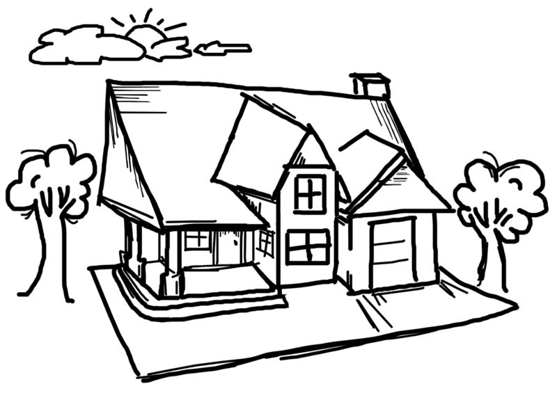 Clipart - House Sky Sketch