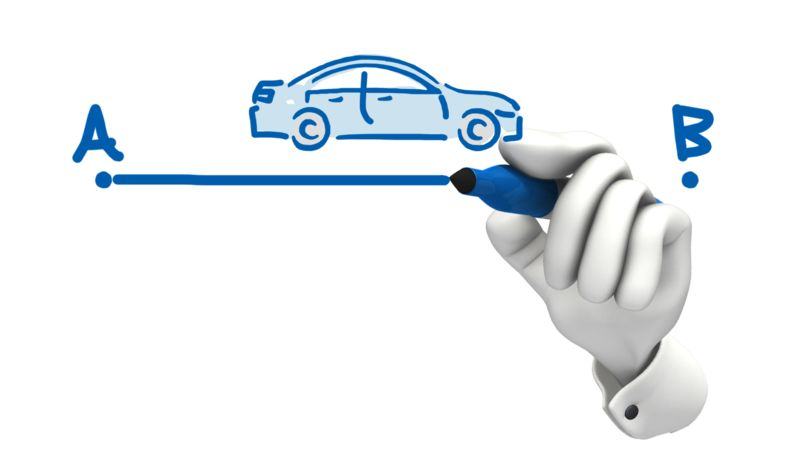 Clipart - Hand Drawing Car A To B