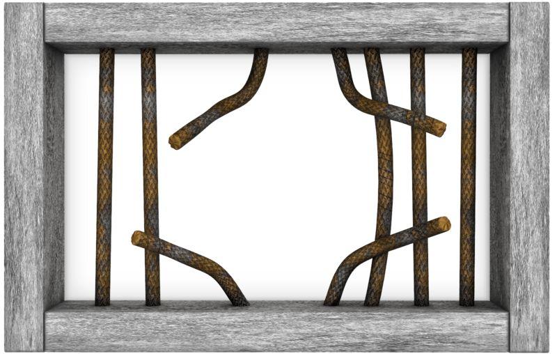 Clipart - Jail Window Bars Broken