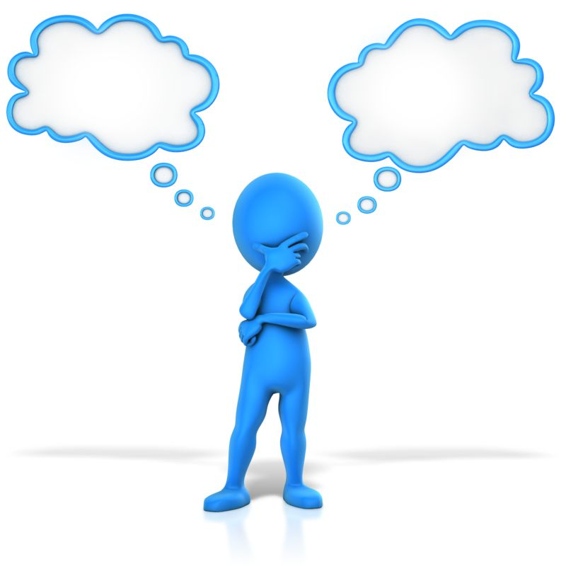 Clipart - Figure Pondering Two Thoughts
