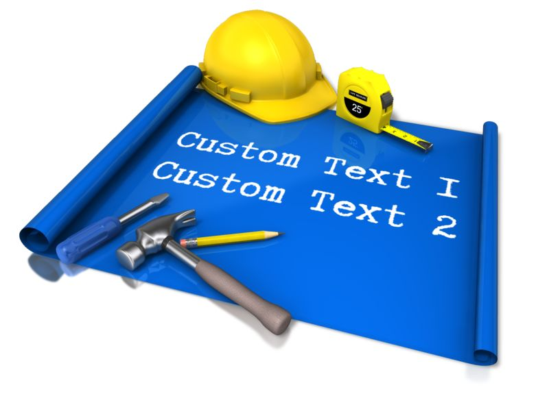 This Presentation Clipart shows a preview of Custom Text Blue Print