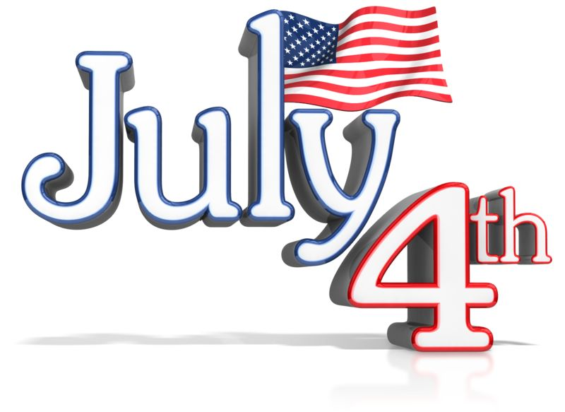 Clipart - July 4th Text With Flag