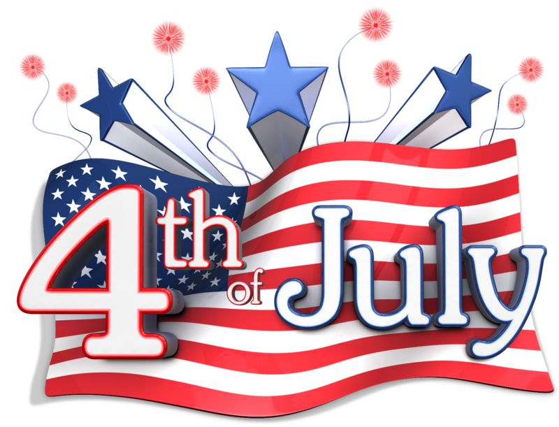 Clipart - American Flag Behind Fourth of July Text