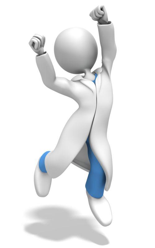 Clipart - Doctor or Nurse Jumping Celebration