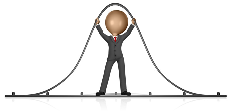Clipart - Business Figure Holding Up Bell Curve