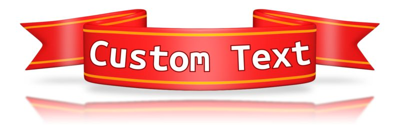 An image of a small red banner with custom text on the front.