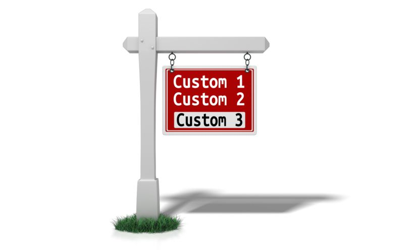 A red custom text sign hangs from a white post in this clipart.