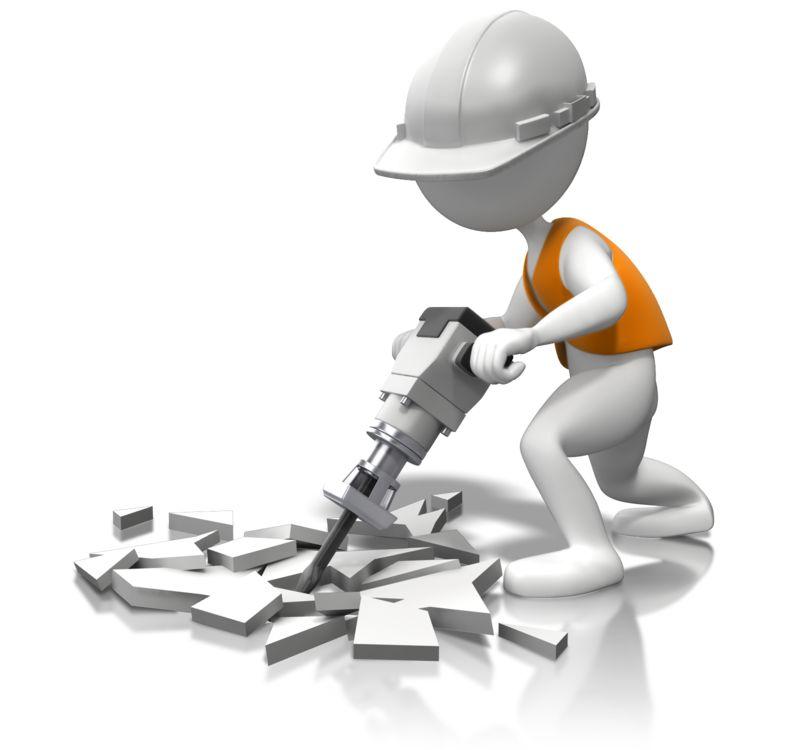 Clipart - White Hard Hat Jackhammer The Concrete