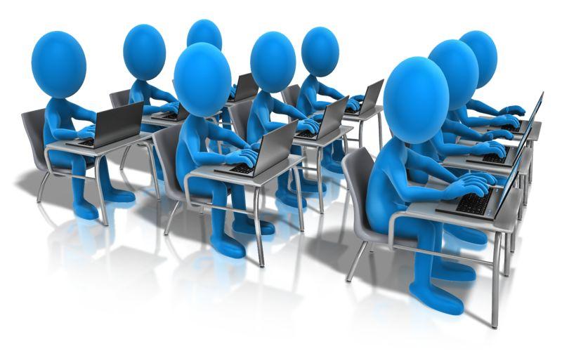 Clipart - Students Laptop Classroom
