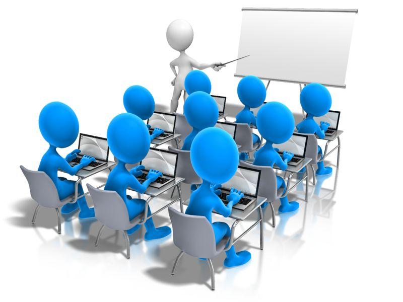 Clipart - Students Laptop Teacher