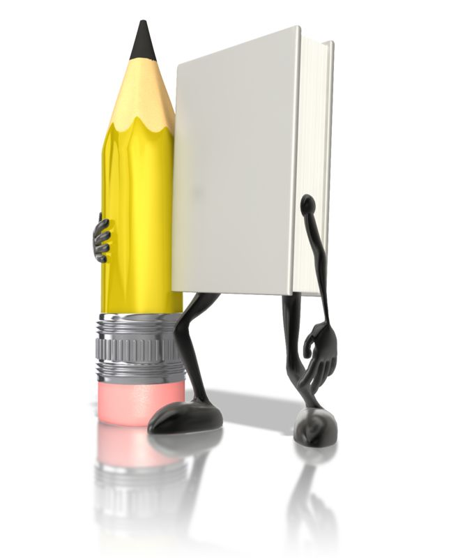 Clipart - Book Character Holding Pencil