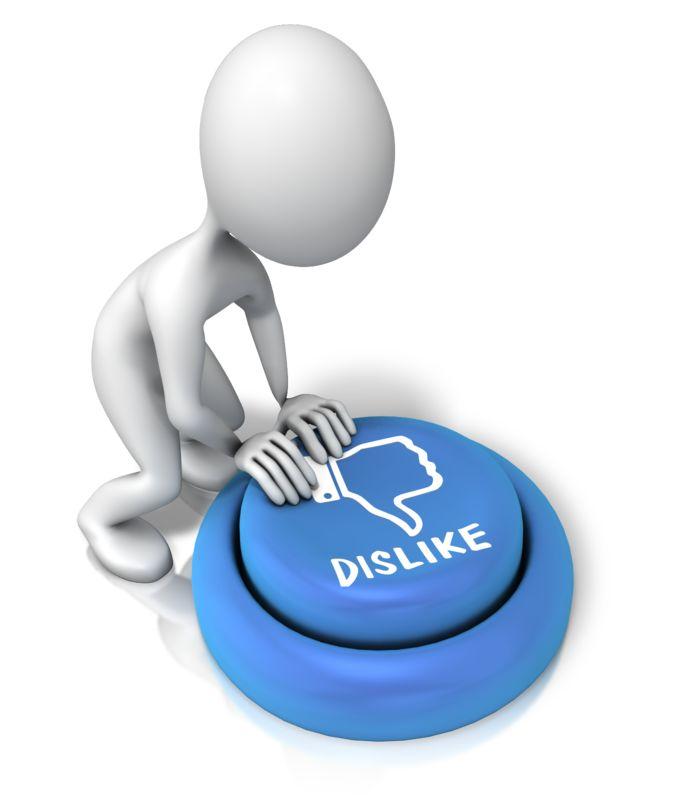 Clipart - Figure Pushing Dislike Button