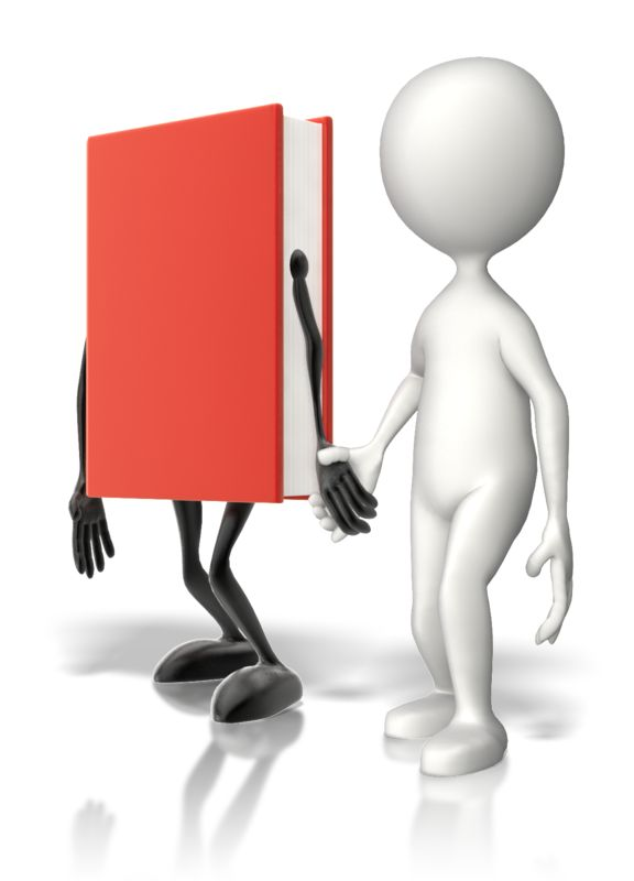 Clipart - Book Holding Hands With Stick Figure