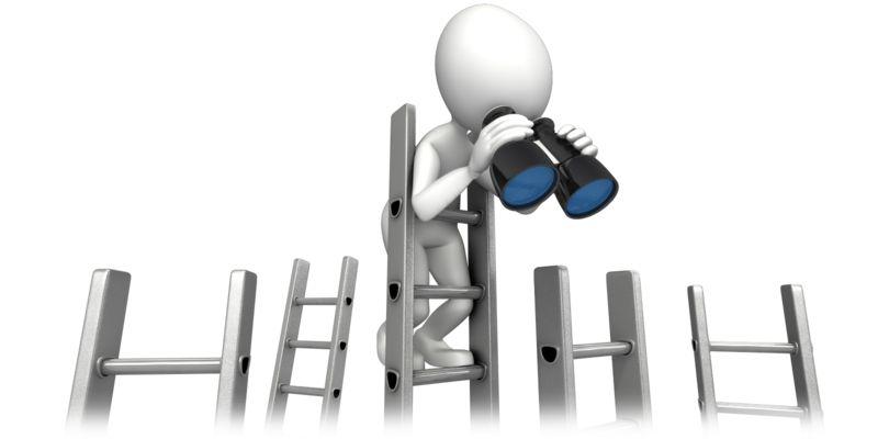 Clipart - Climbing Corporate Ladder With Binocular