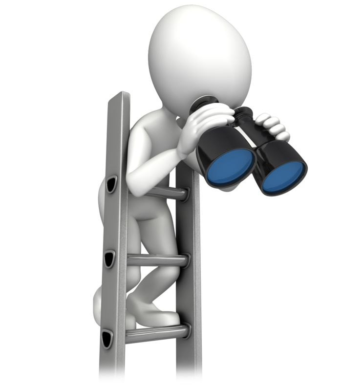 Clipart - Climbing Corperate Ladder With Binocular