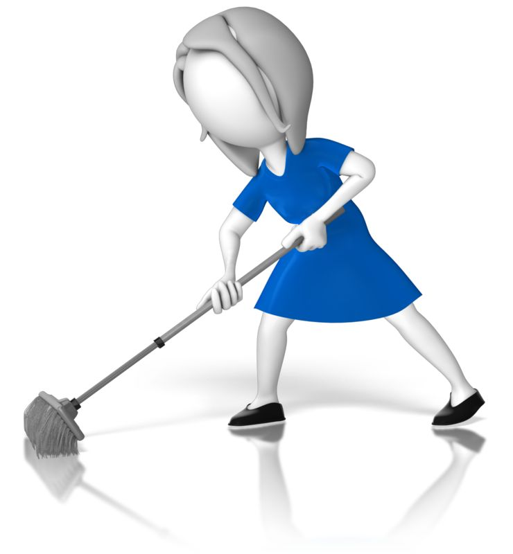Clipart - Woman Stick Figure Sweeping