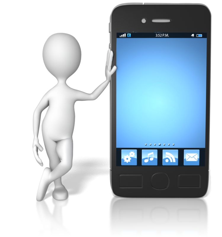 Clipart - Stick Figure Leaning On Smart Phone