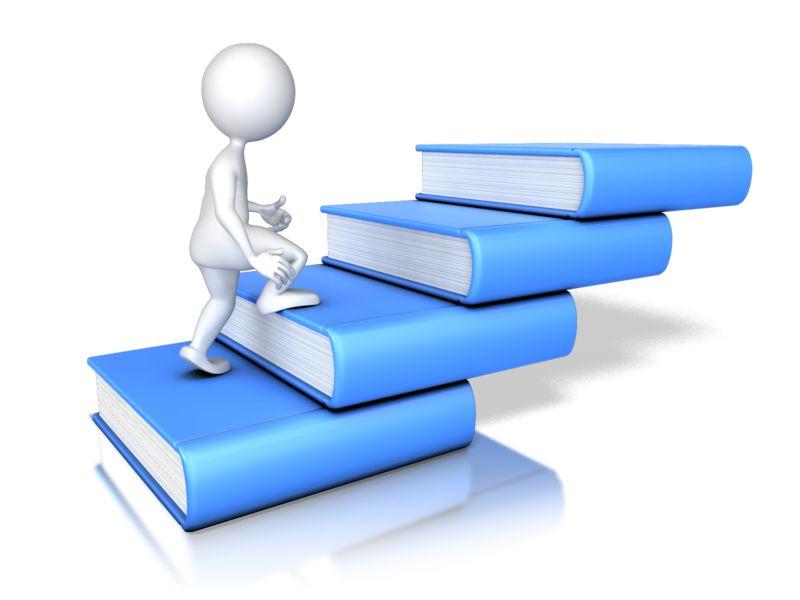 Clipart - Stick Figure Walking Up Four Books