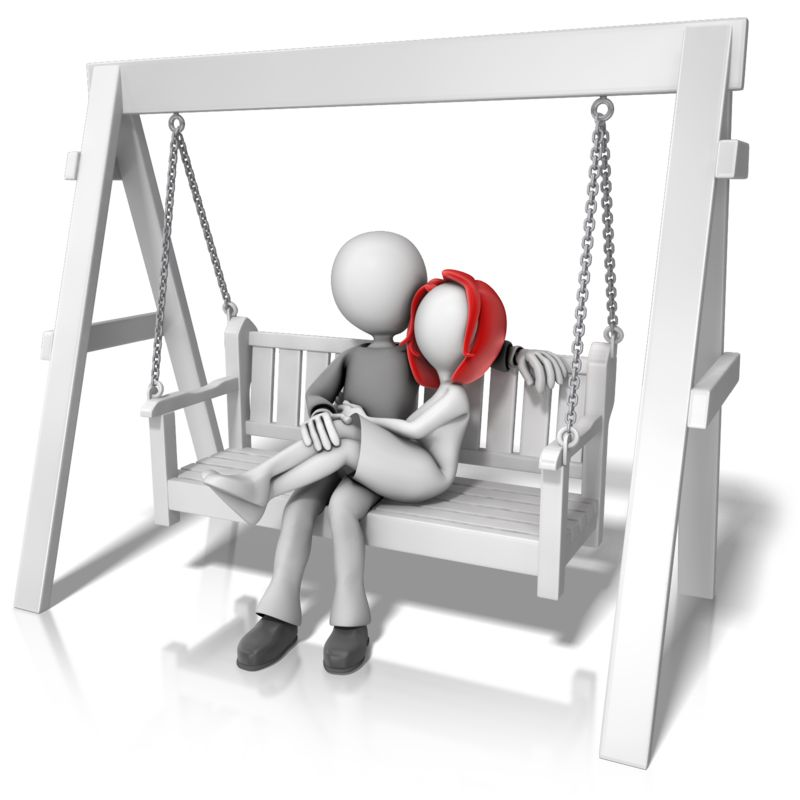 Clipart - Couple On Swing Bench
