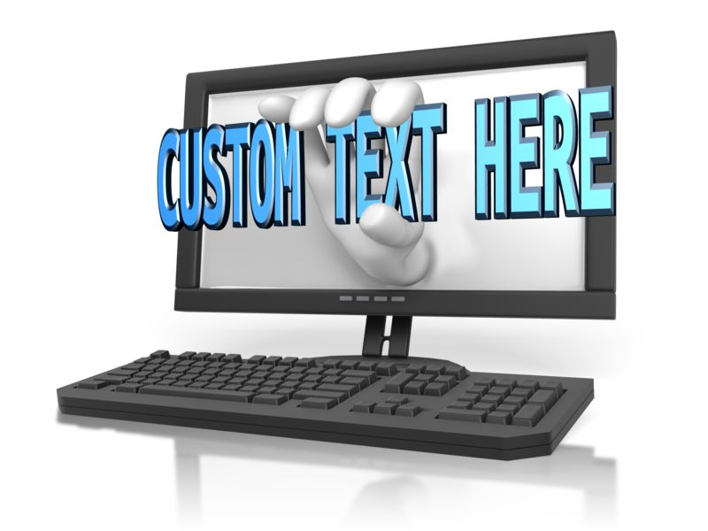 This Presentation Clipart shows a preview of Hand Out Of Computer Custom Text