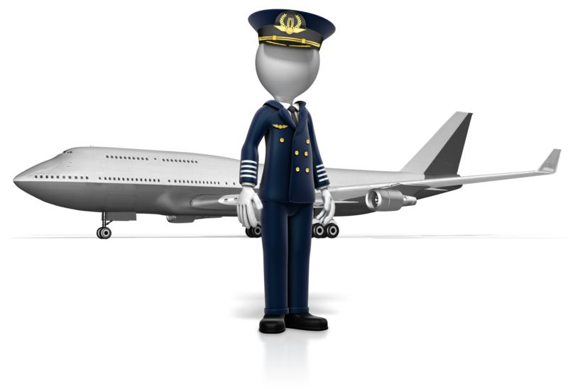Clipart - Pilot Standing In Front of Airplane