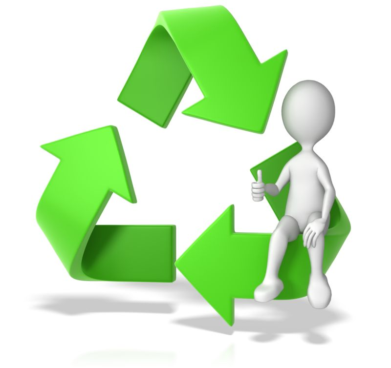 Clipart - Recycle Symbol with a Stick Figure