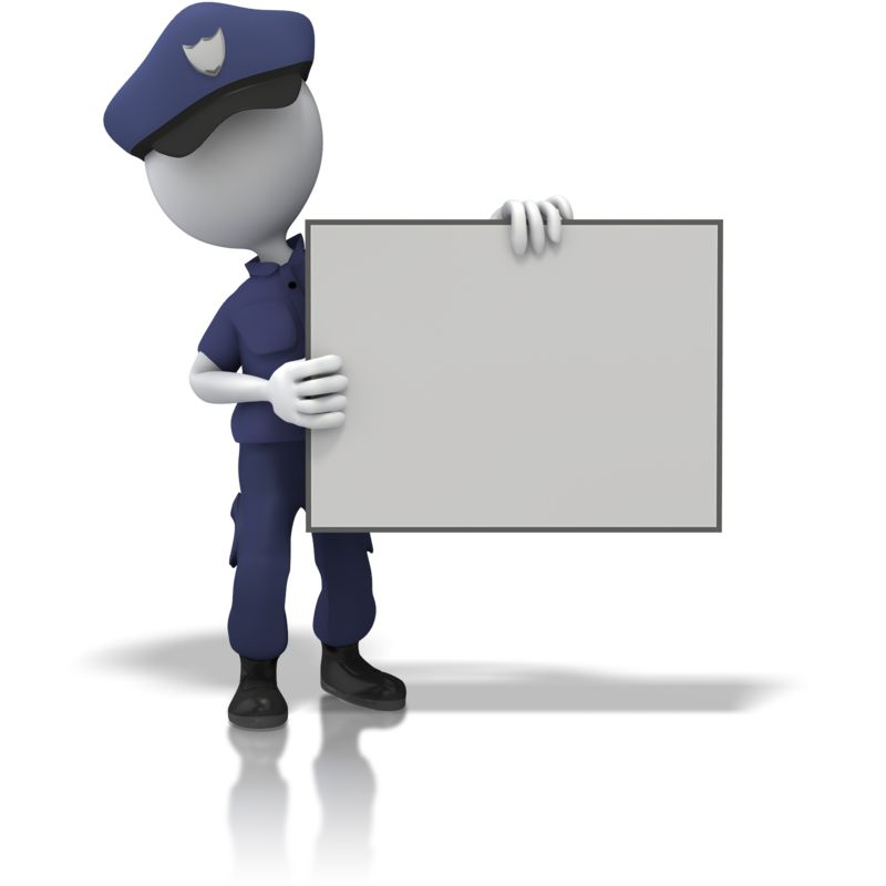 Clipart - Police Officer Hold Sign