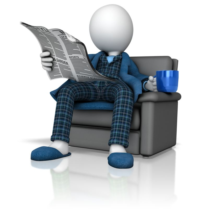 Clipart - Figure Reading Newspaper in Pajamas