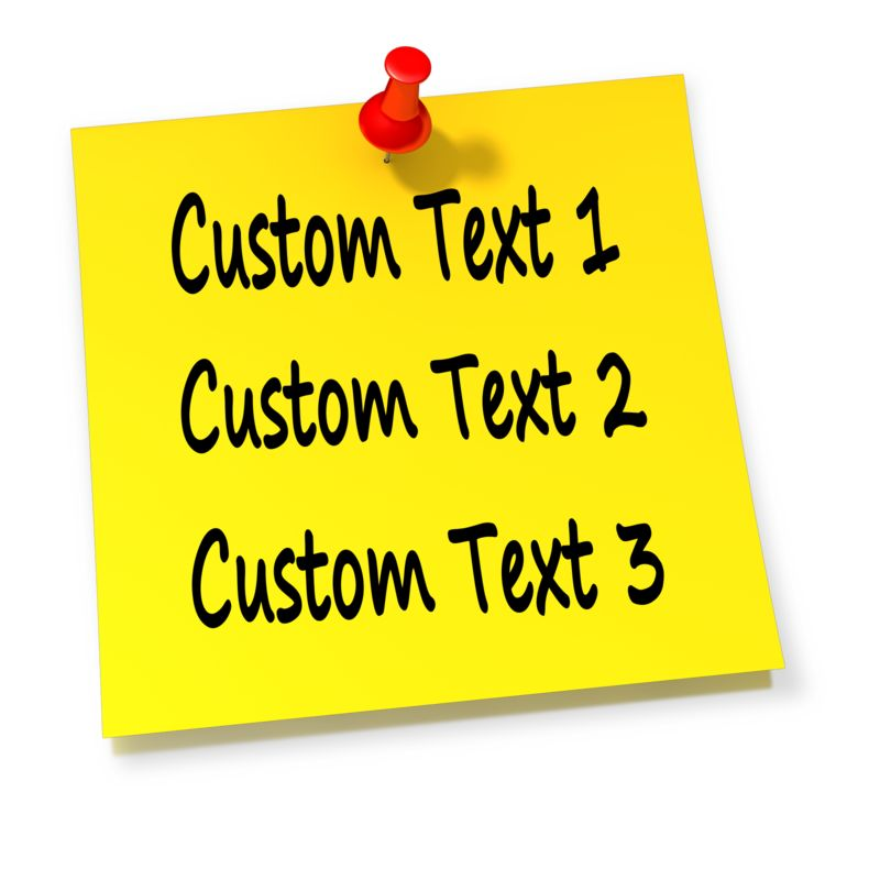 An image of a yellow sticky note with a red thumbtack pushed in with room to put your own custom text.