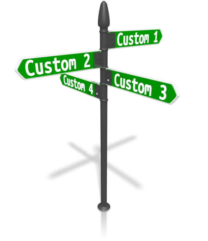 This Presentation Clipart shows a preview of Custom Four Street Sign