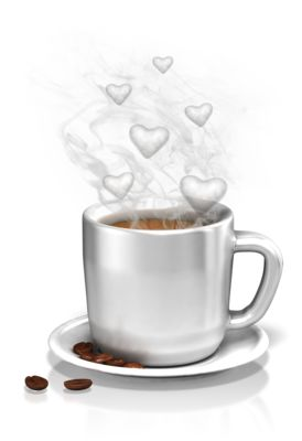 An image of a coffee custom with steamy heart shapes coming out of it.