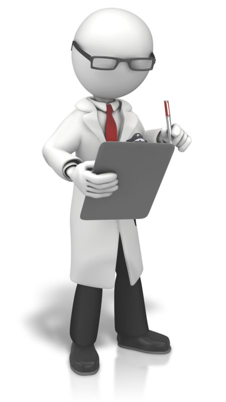 Clipart - Scientist Looking To Clipboard