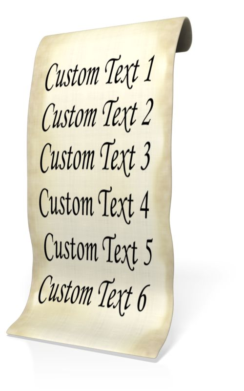 A old piece of paper is shown with room to put your own custom text. <br><br>  Leave blank which custom text fields you do not want on the paper list.