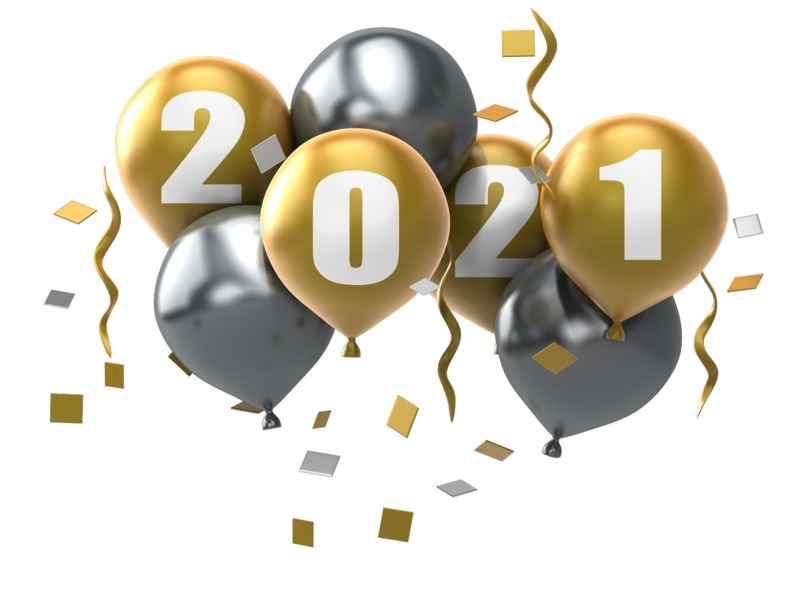 Gold and burgundy balloons are bunched together.  A custom year is stenciled on the gold balloons in this New Years clipart.  <br><br> Note*  You can change all numbers in the year by using our online text customizer.