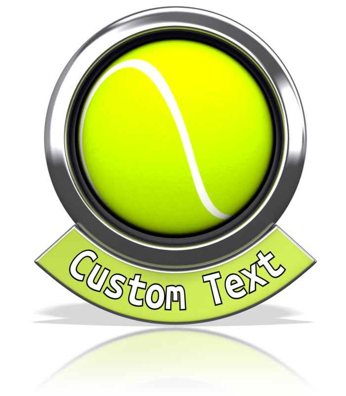 An image of a tennis ball with a custom text banner below it.