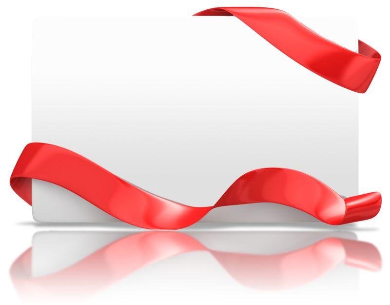 Clipart - Blank Holiday Card Ribbon