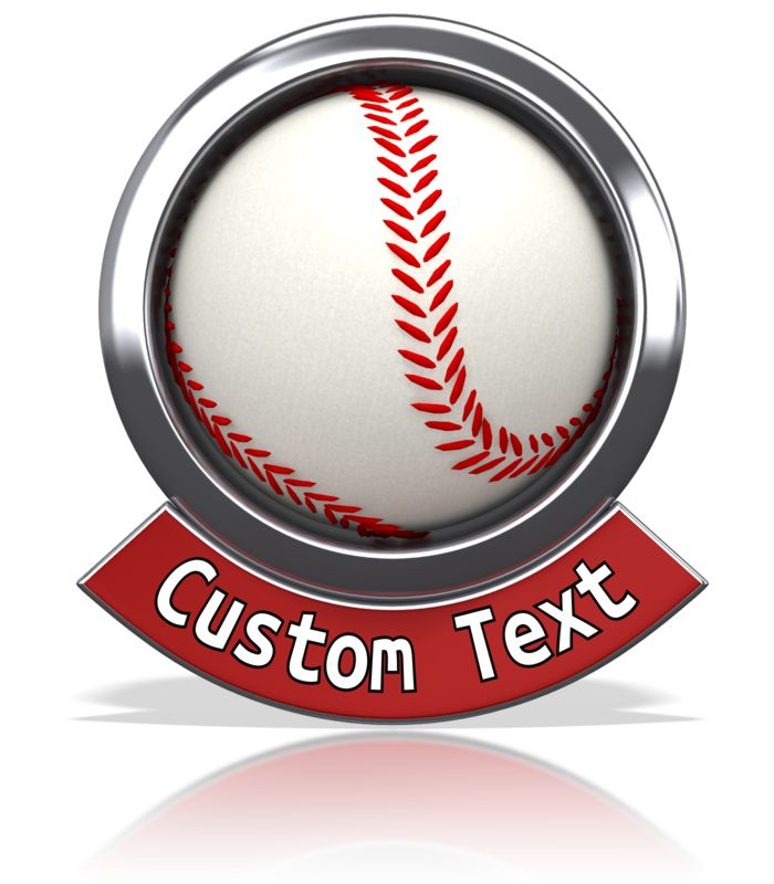 An image of a baseball with a custom text banner below.