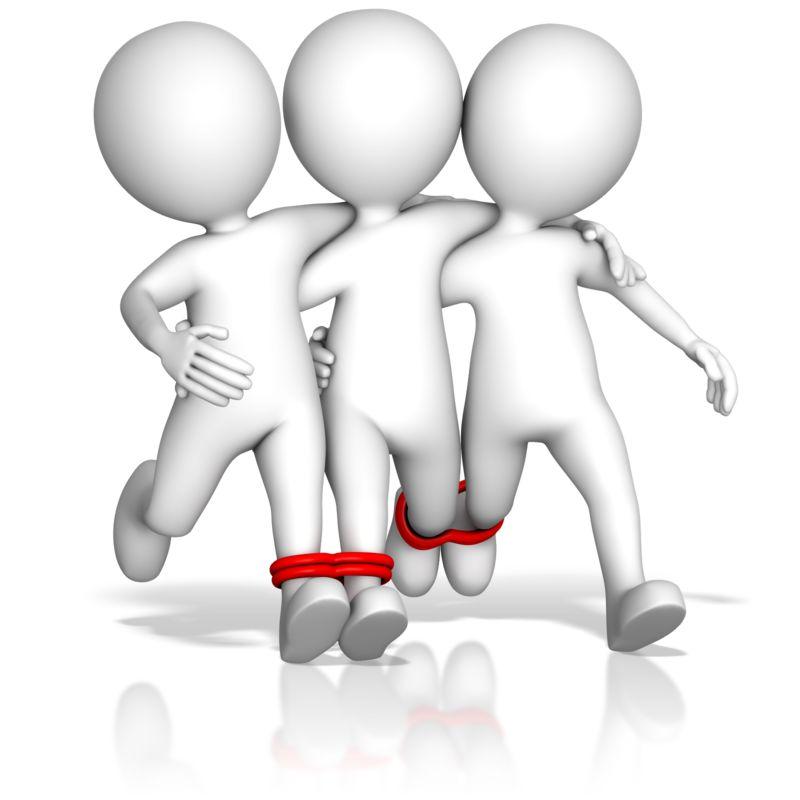 Clipart - Four Legged Teamwork Race