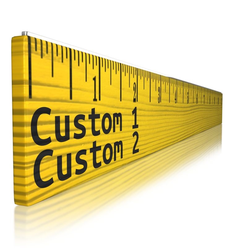 This clip art image shows a ruler from a perspective angle with custom text on the front.