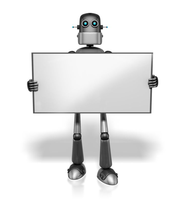 Clipart - Retro Robot Holding Sign