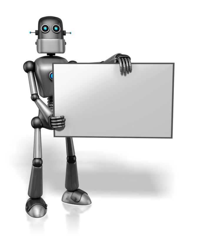 Clipart - Retro Robot Holding Sign Right