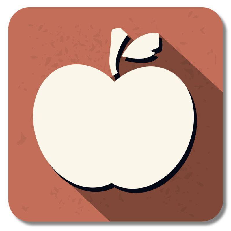 Clipart - Teacher Apple Square Icon