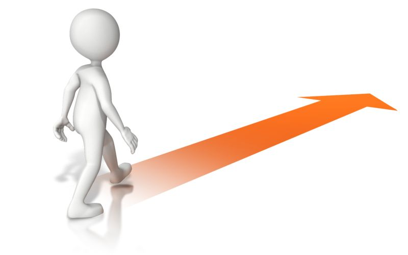 Clipart - Walking With Arrow
