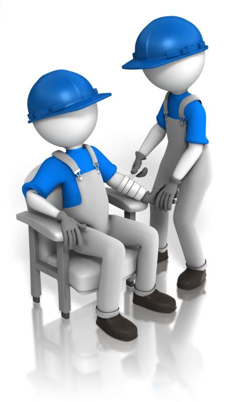 Clipart - Worker Bandaging Worker