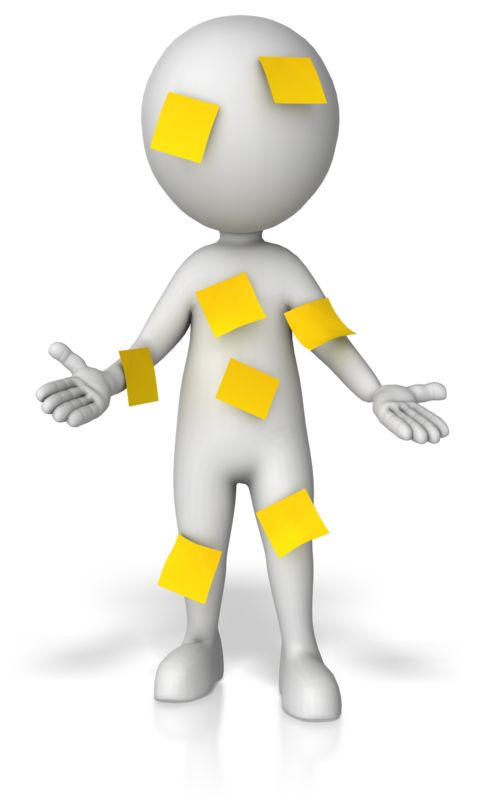 Clipart - Figure Covered In Blank Notes