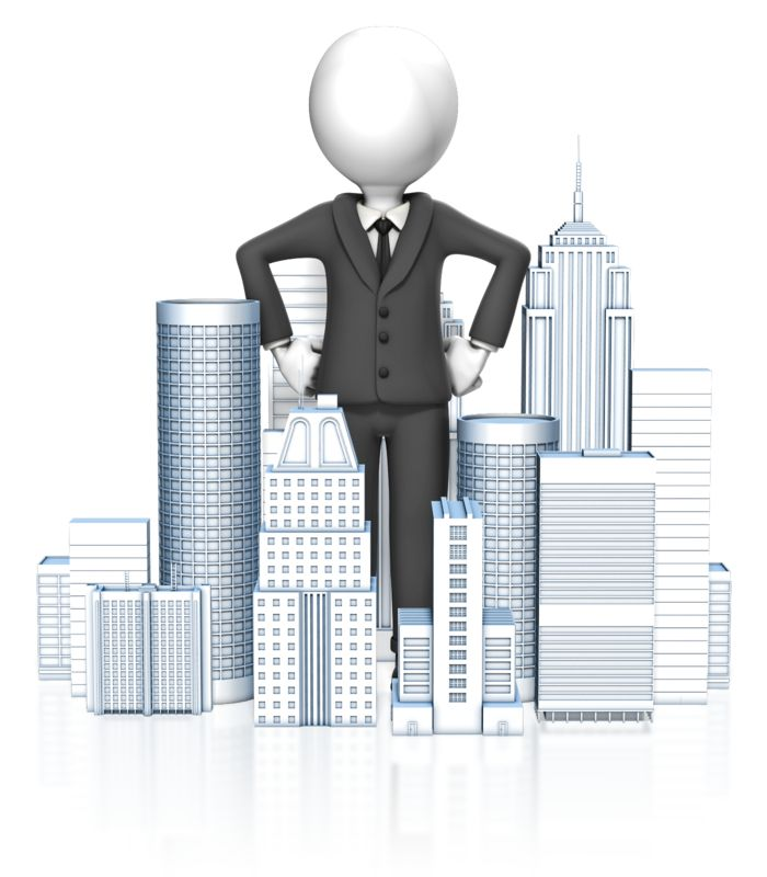 Clipart - Business Man In City