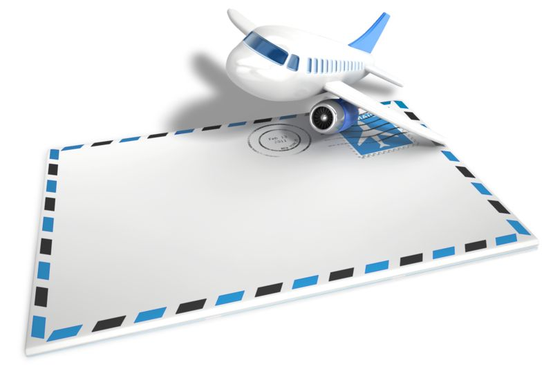Clipart - Airmail Airplane Envelope