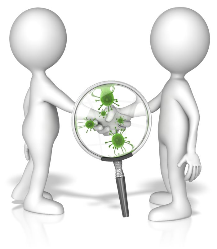Clipart - Magnified Germ Handshake