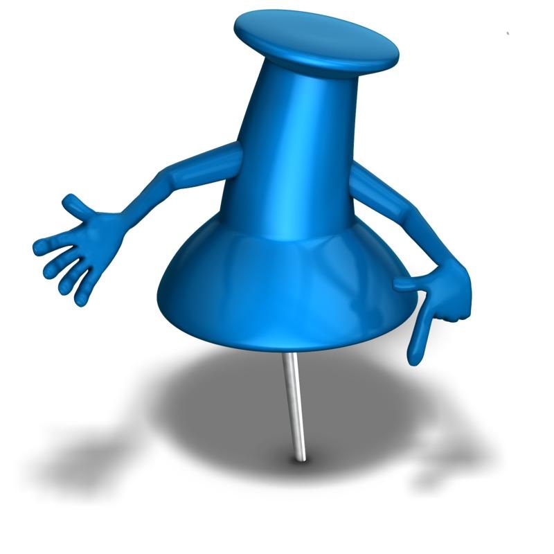 Clipart - Thumb Tack Character Pointing Down