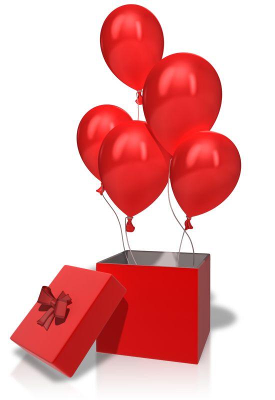 Clipart - Box Balloons Rising